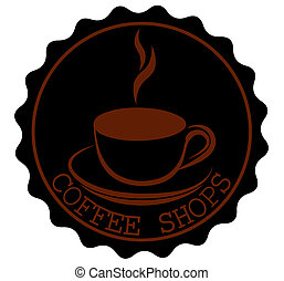 Round Coffee Shop Ribbon Banners Shapes with a cup and steam in black brown