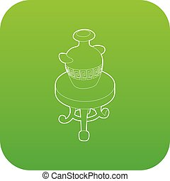Round coffee table with an antique vase icon green vector