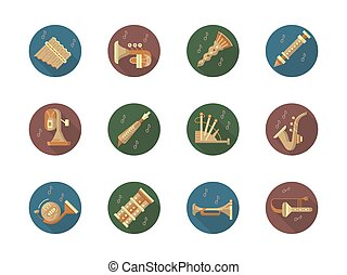 Brass and woodwind musical instruments collection. Bagpipes, flute, trumpet and trombone and other elements for orchestra or music festivals. Set of stylish round flat color vector icons.
