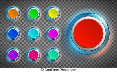Round colored buttons for the web site or app.