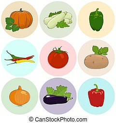 Round Colored Icons Fresh Vegetables - Round Colored Icons...