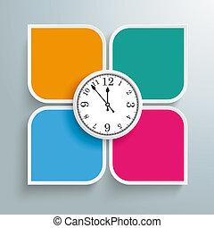 Round Colored Quadrates Template 4 Options Clock Centre