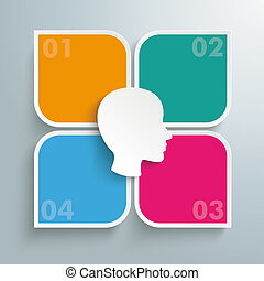 Round Colored Quadrates Template 4 Options Head Centre