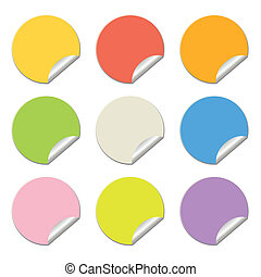 round stickers in different colors isolated on white, vector illustration