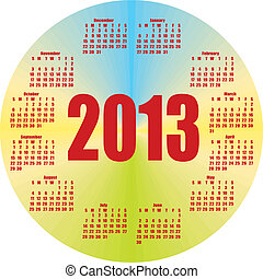 round colorful calendar 2013 in vector