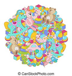 Round colorful cartoon doodles baby toy vector illustration