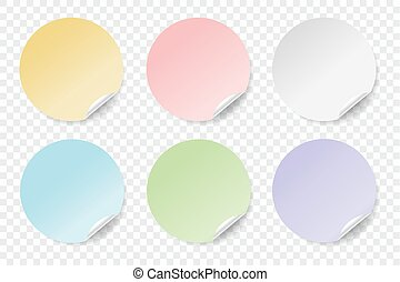 Round colorful stickers set. EPS 10.