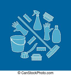 Round combination of household cleaning objects