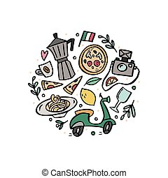 Round composition with traditional symbols of Italy.
