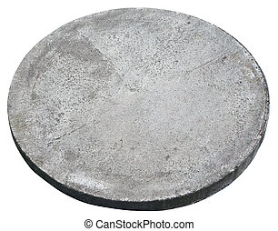 Round concrete cover hatch for the sewerage system.