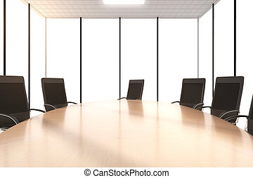 Round conference table with chairs in the office