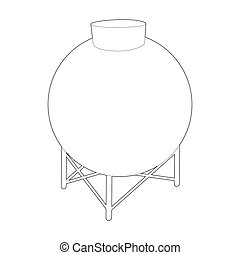 Round container for liquids icon, outline style