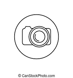 Round contour icon camera, vector illustration.