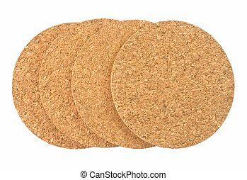 Round Cork Beverage Coasters on White Background