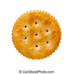 Round Cracker isolated on white  with a clipping path.