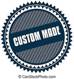 Round CUSTOM MADE blue sticker.