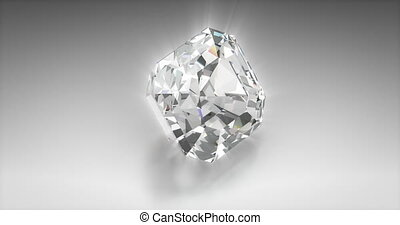 Round Cut Diamond - Round cut diamond on gray background...