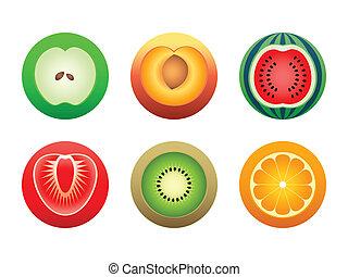 Apple, peach, orange, kiwi, strawberry and watermelon in color-reach symbols