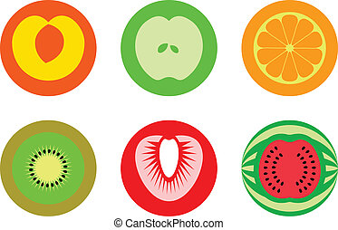 Round cut fruit symbols