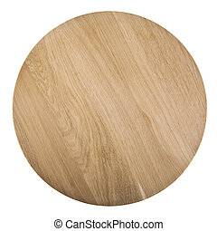 round cutting Board isolated on white background. Closeup....
