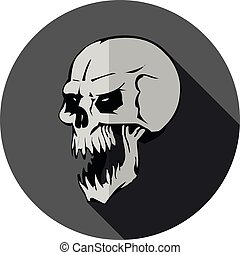 Round dark gray Flat icon for website, aggressive skull with open jaw, on white background,
