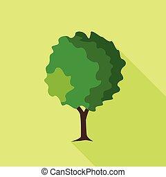 Round deciduous tree icon, flat style