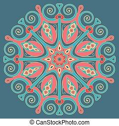 Round decorative element.