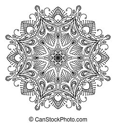 Round decorative floral mandala element on white background