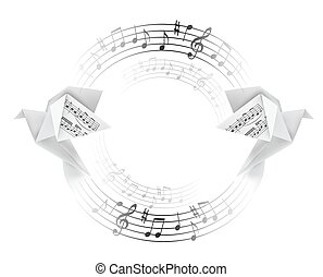 Round decorative frame with Origami doves with musical notes.