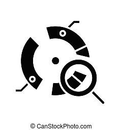 Round diagram analysis black icon, concept illustration, vector flat symbol, glyph sign.