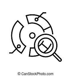 Round diagram analysis line icon, concept sign, outline vector illustration, linear symbol.