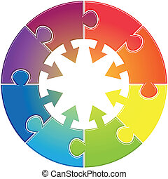 Round diagram arrows - Round chart with puzzles different...