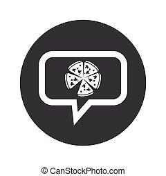 Round dialog pizza icon