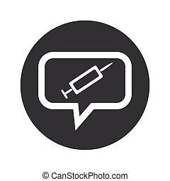 Round dialog syringe icon