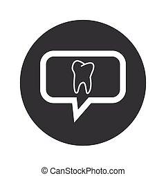 Round dialog tooth icon