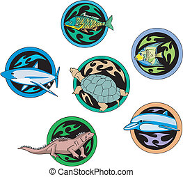 Round dingbats with fish and reptiles