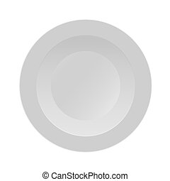 Round dinner plate template. Vector illustration on a white background.