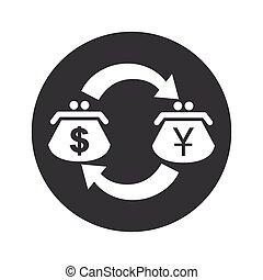 Round dollar yen exchange icon