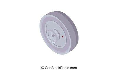 Round door safe animation of cartoon icon on white background