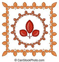 round., dorado, jardín, three-toed, pradera, grande, marco, sheet., -, dentro, ilustración, otoño, tema, cuadrado, naranja sale, tiene, llegado