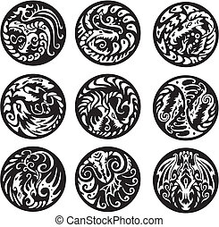 Round dragon designs. Set of black and white vector emblems.