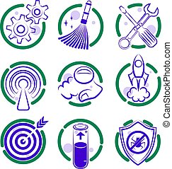 Round dualcolor flat isolated vector icon set for site.