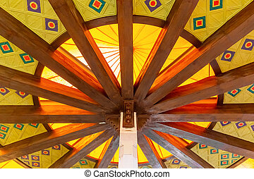Round eastern ceiling with patterns in the building of the market in Muscat, the capital of Oman
