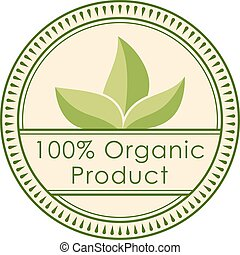 Round eco badge green stamp label of healthy organic natural...