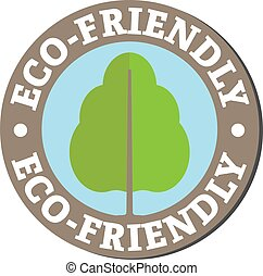 round eco-friendly sticker or label with tree symbol and text