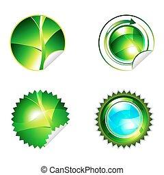 Round eco shiny sticker set
