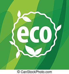 Round eco vector logo on a green background