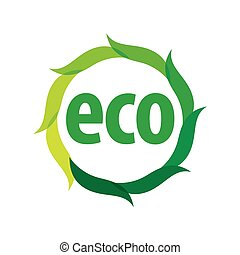 Round eco vector logo with green leaves