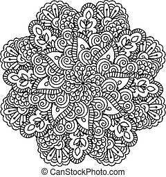 Round element for coloring book. Black and white floral ...