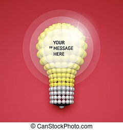 Round Element with Place for Text. Lightbulb. Idea Concept. 3D Illustration for Marketing and Business Presentation. 3d Spheres Composition. Vector illustration for Science, Technology, Web Design.